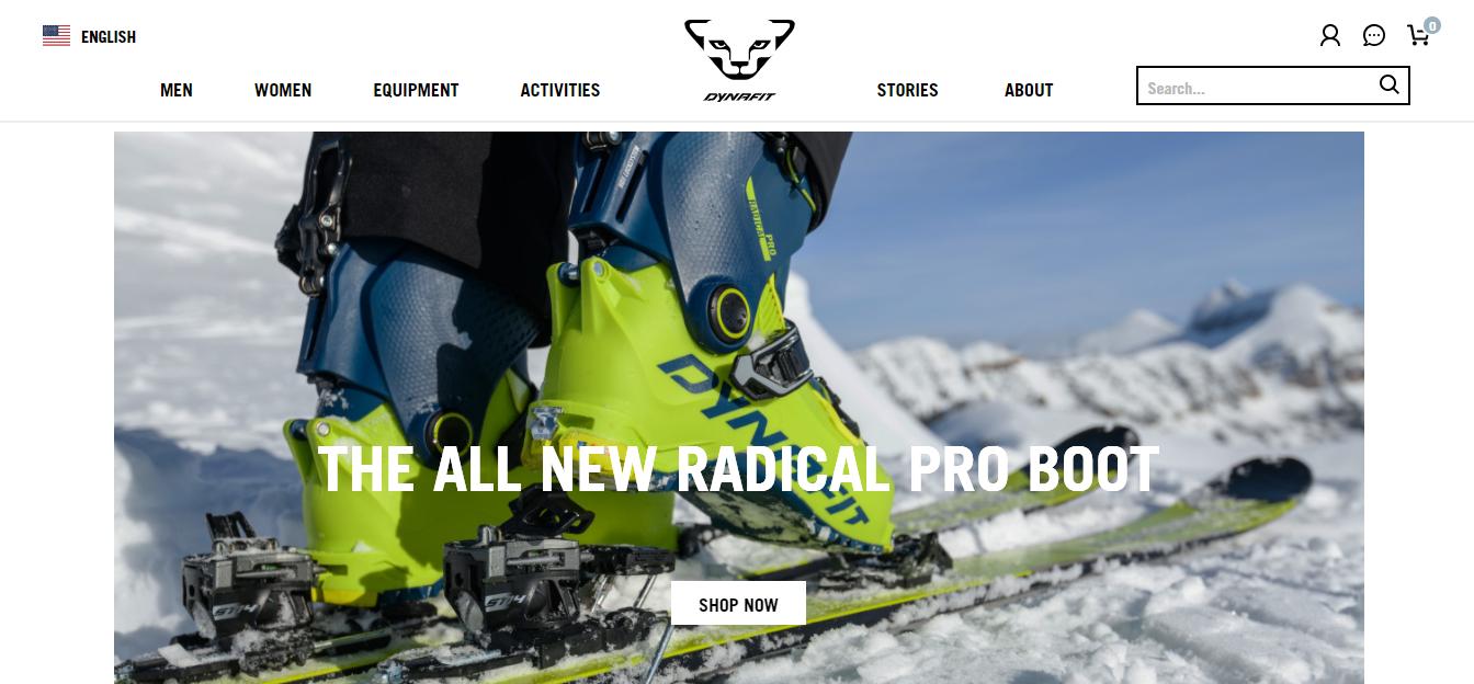 Homepage del sito web Dynafit