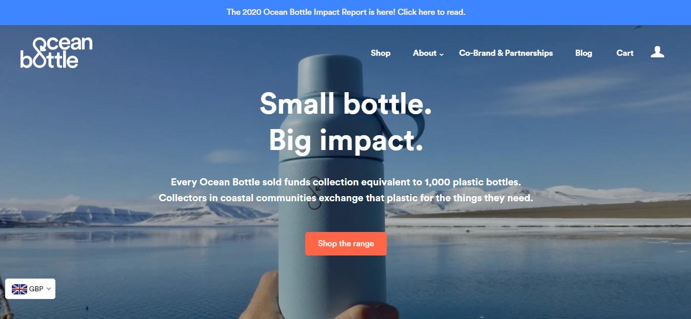 Homepage del sito web Ocean Bottle
