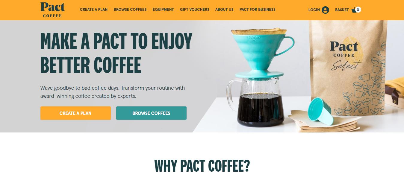 Page d'accueil du café Pact