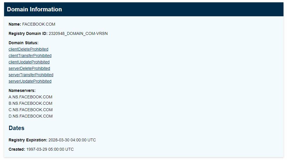 Consulta de domínio no ICANN