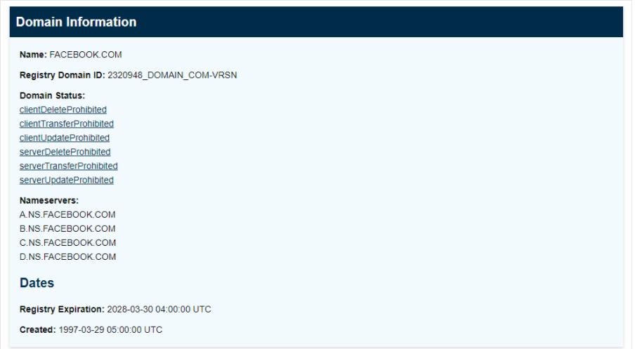 Informazioni sulla ricerca di dominio ICANN