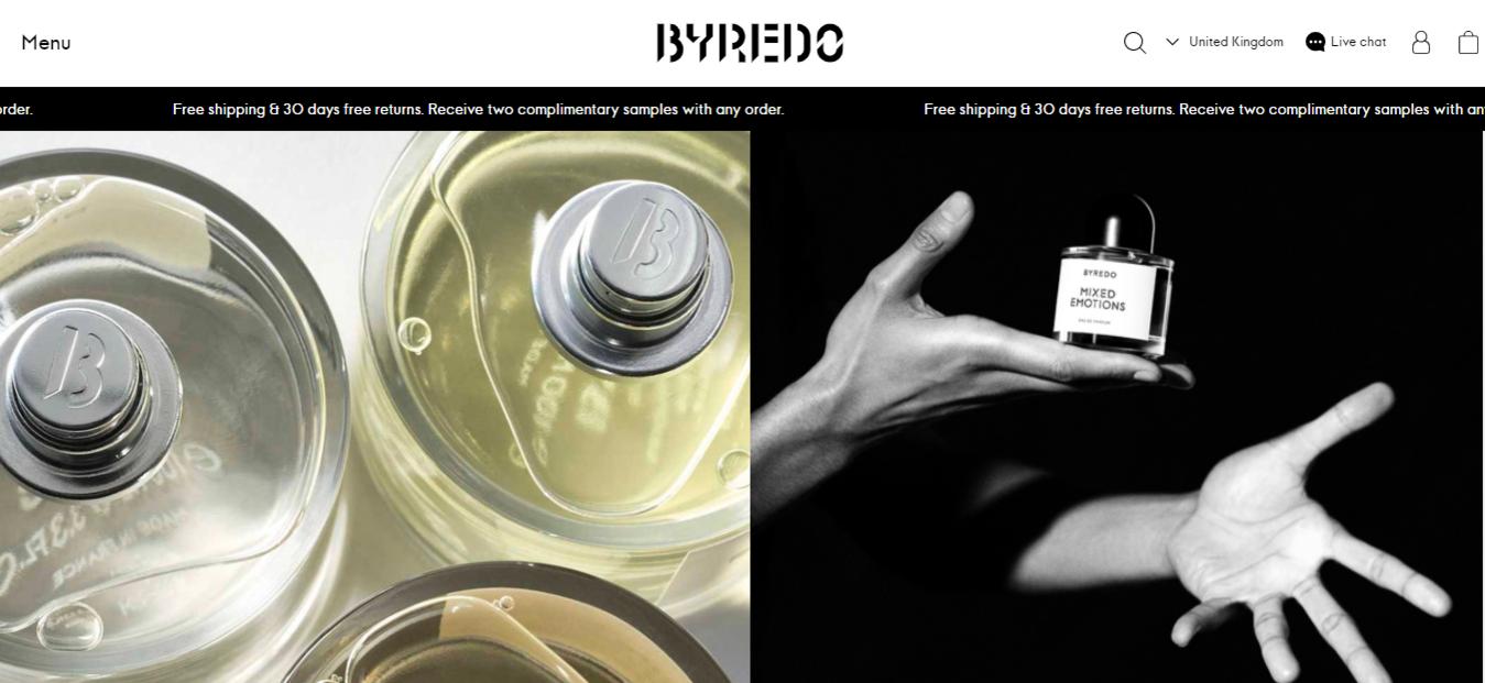 Landing page del sito Byredo uk