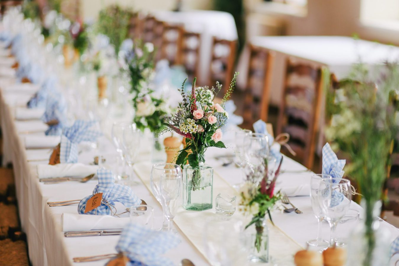 long table laid for wedding reception