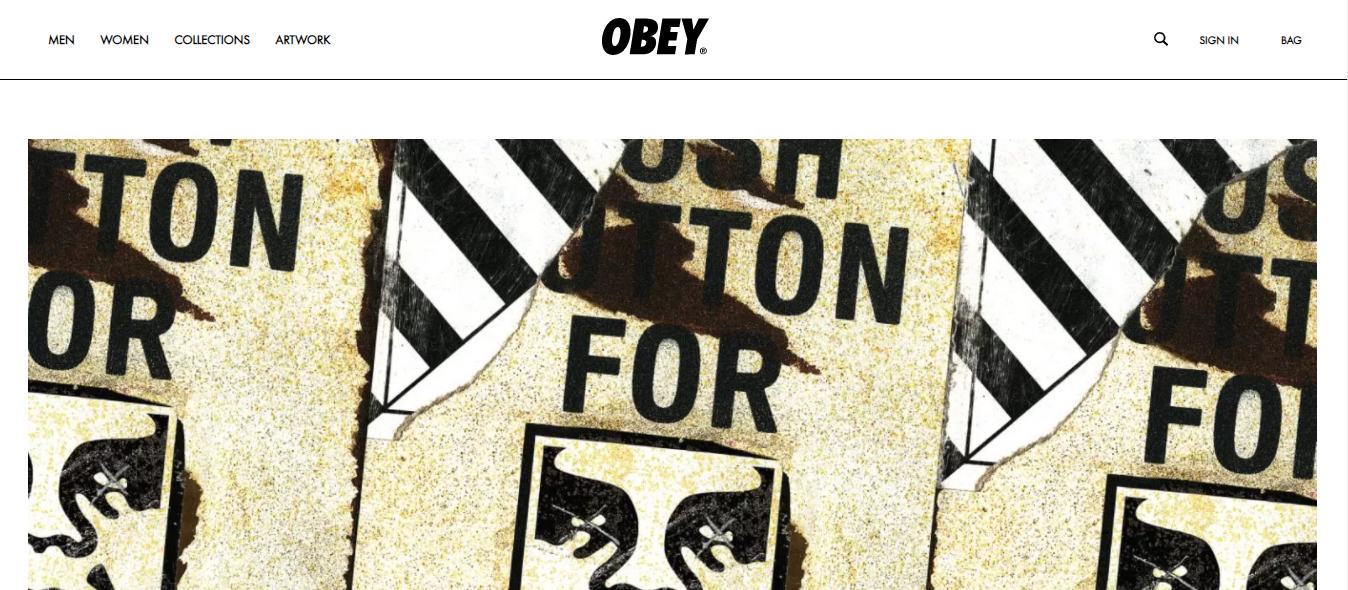 Contoh website eCommerce Obey