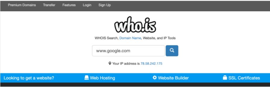 Pagina ricerca Who.is
