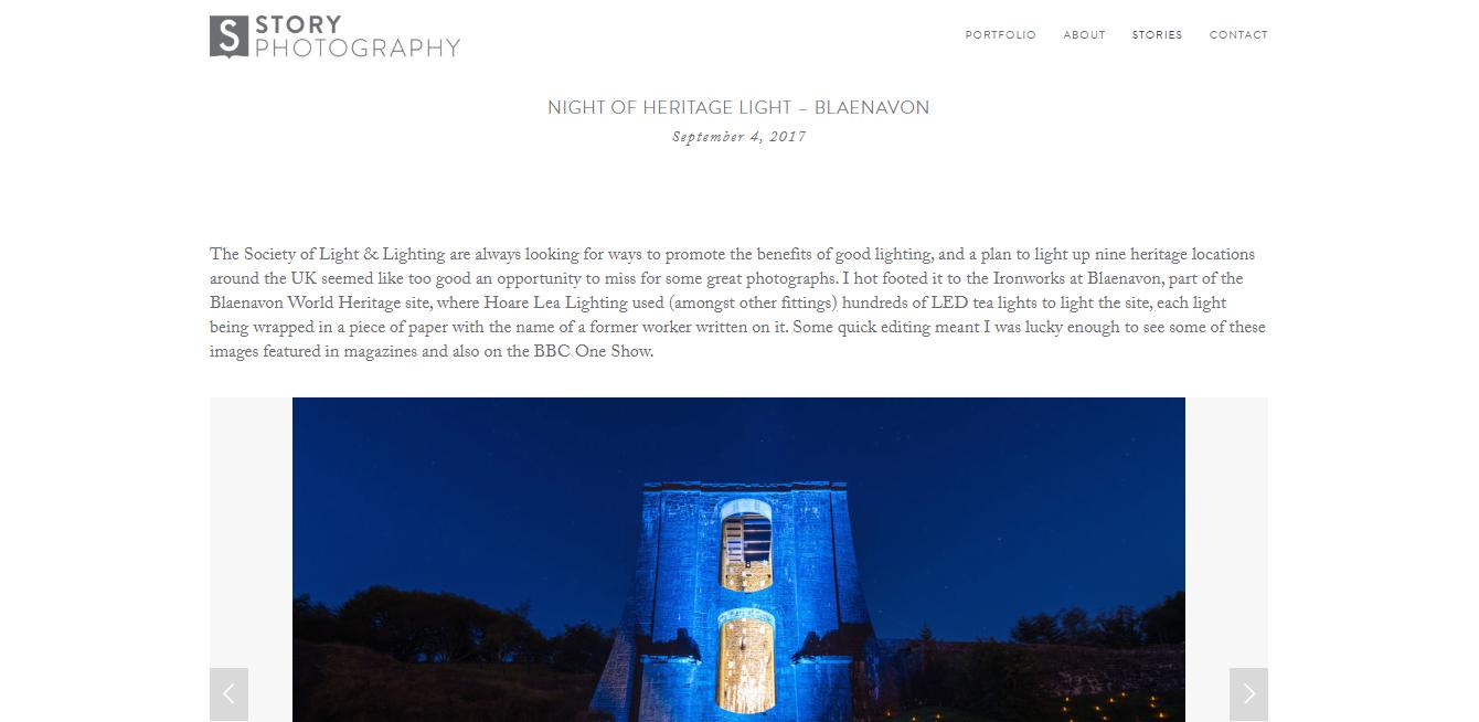 De startpagina van Story Photography