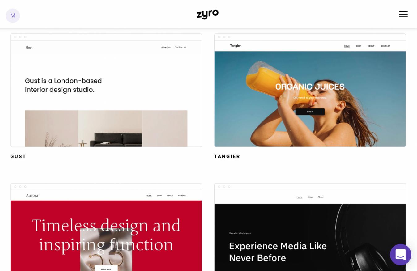 Zyro Homepage Vorlagen