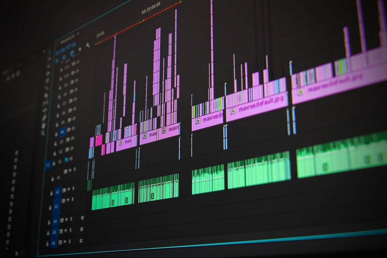 Software de edición de audio en una pantalla