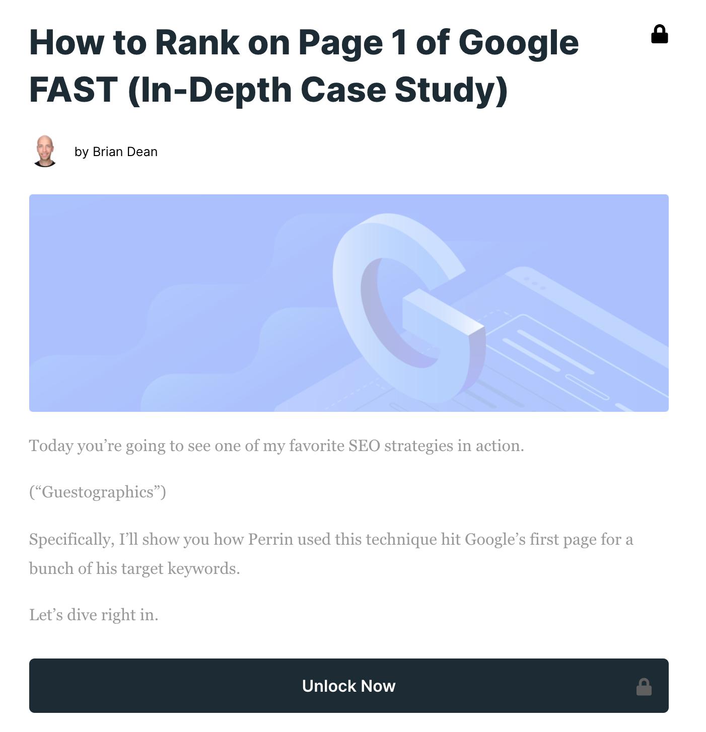 Backlinko Blog premium content example
