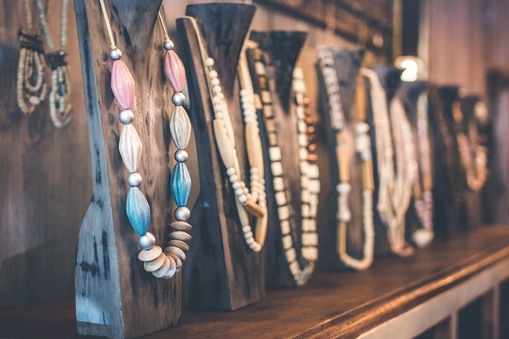 beaded necklaces on necklace stands