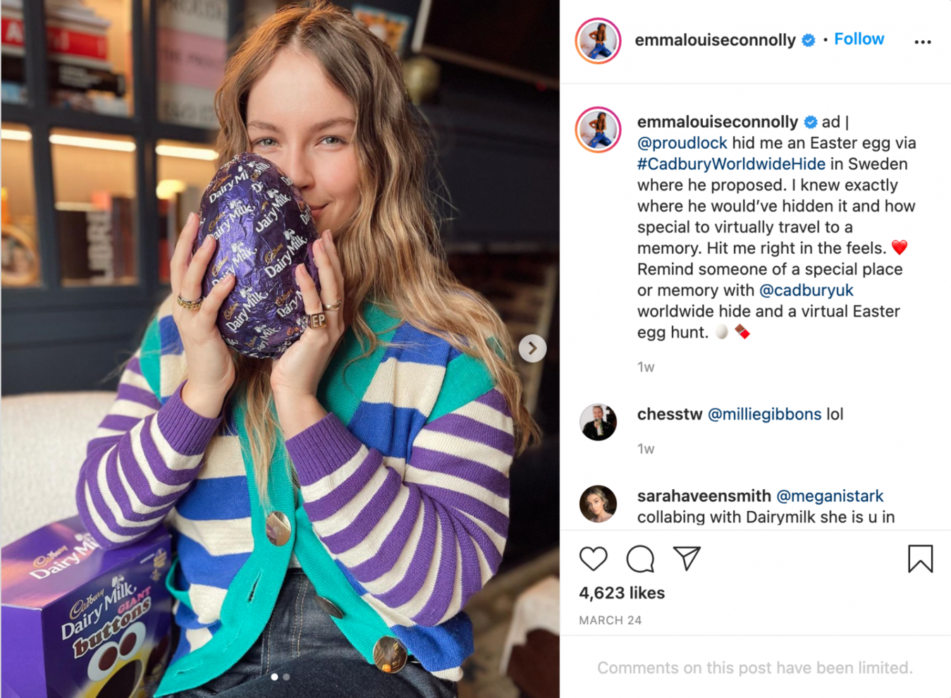 Publicação no Instagram sobre ovos de Páscoa, com legenda e comentários visíveis