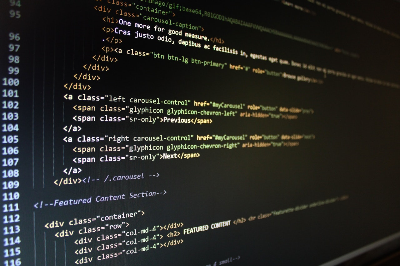 Closeup of code on a computer screen