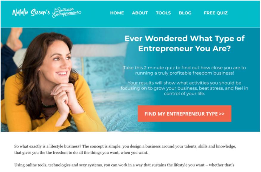 Esempio di un sito web infopreneur (Suitcase Entrepreneur)