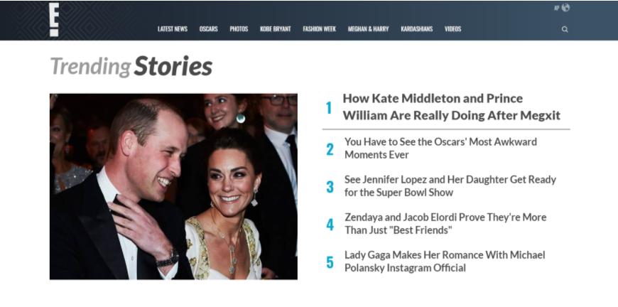 Esempio di un sito web di intrattenimento che mostra storie attuali