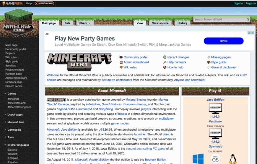 Esempio di un sito web Wiki (Minecraft)