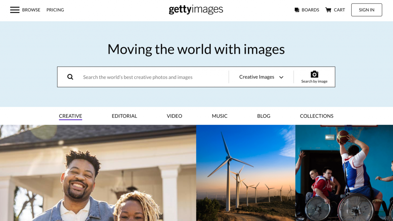 Getty Images landing page