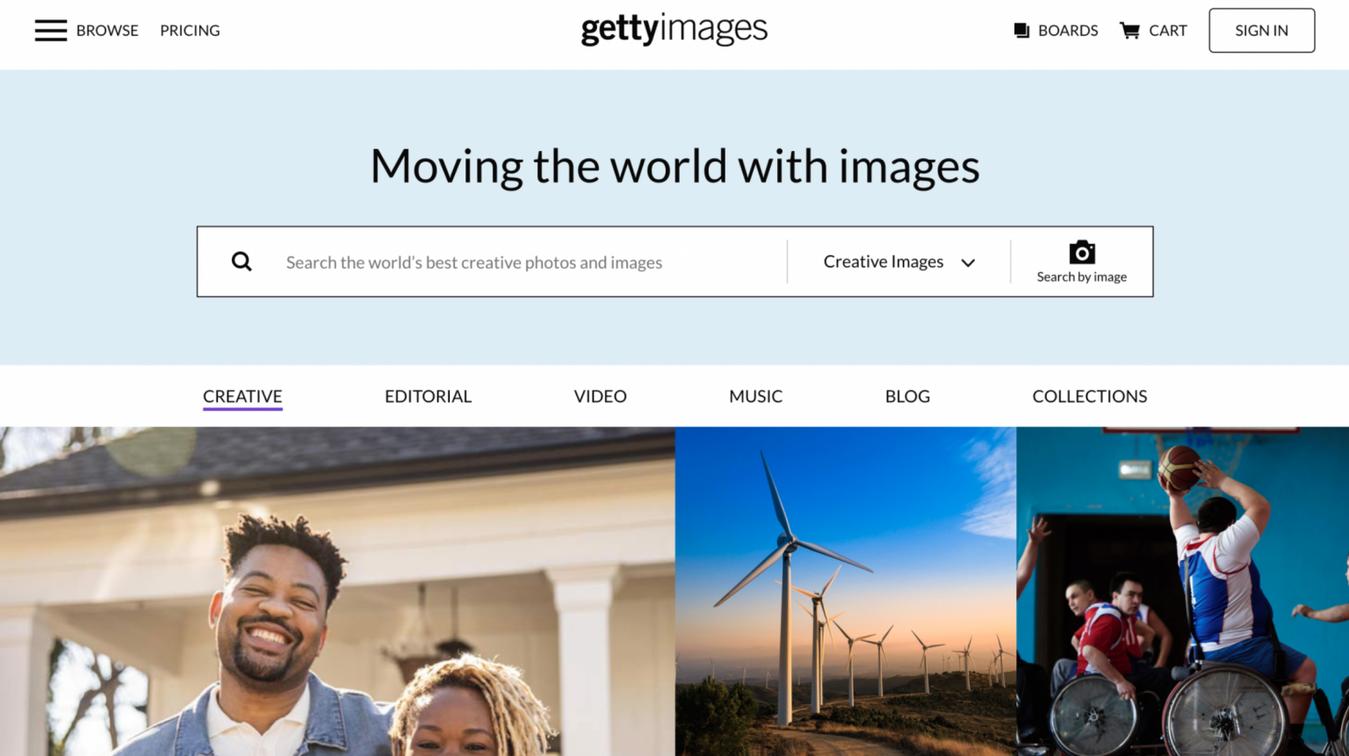 Getty Images startpagina