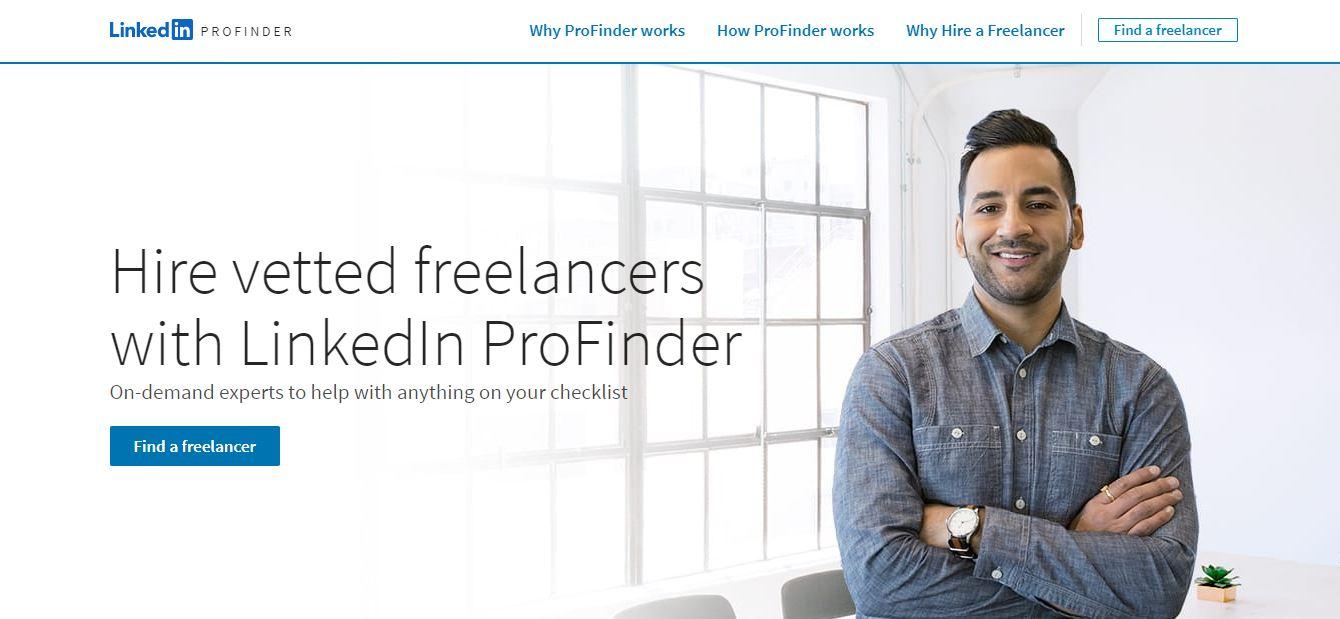 homepage del sito web LinkedIn ProFinder