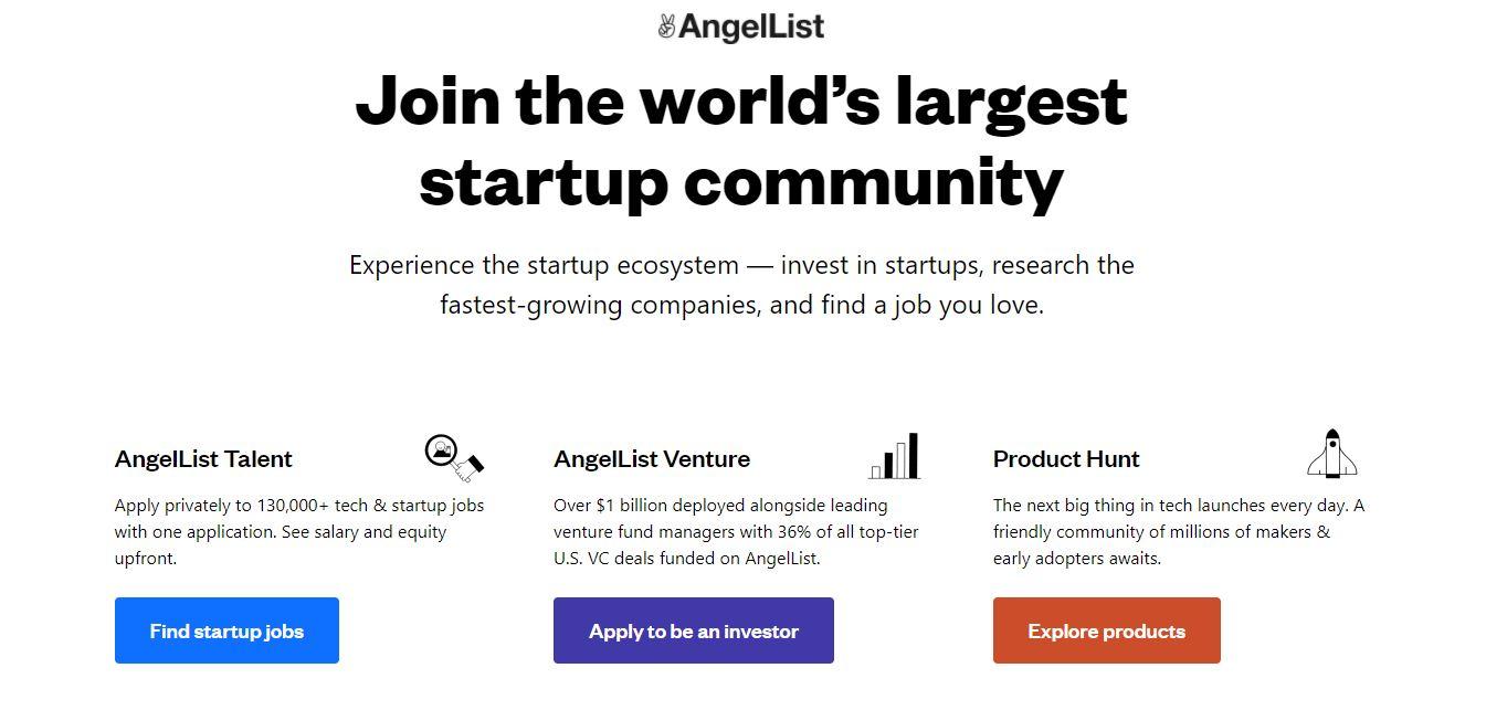 Homepage del sito web AngelList