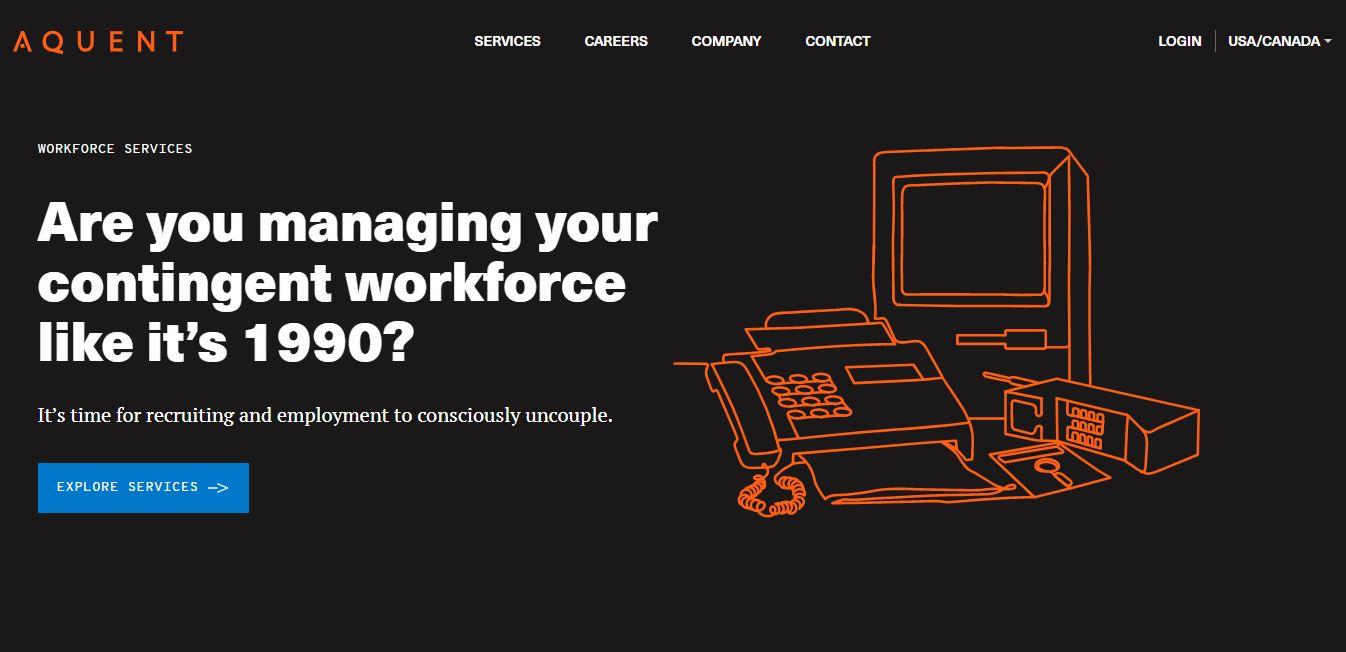 Homepage del sito web Aquent