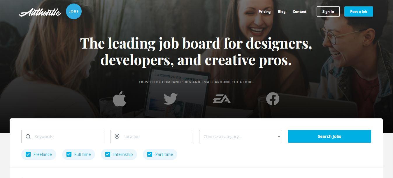 Homepage del sito web Authentic Jobs