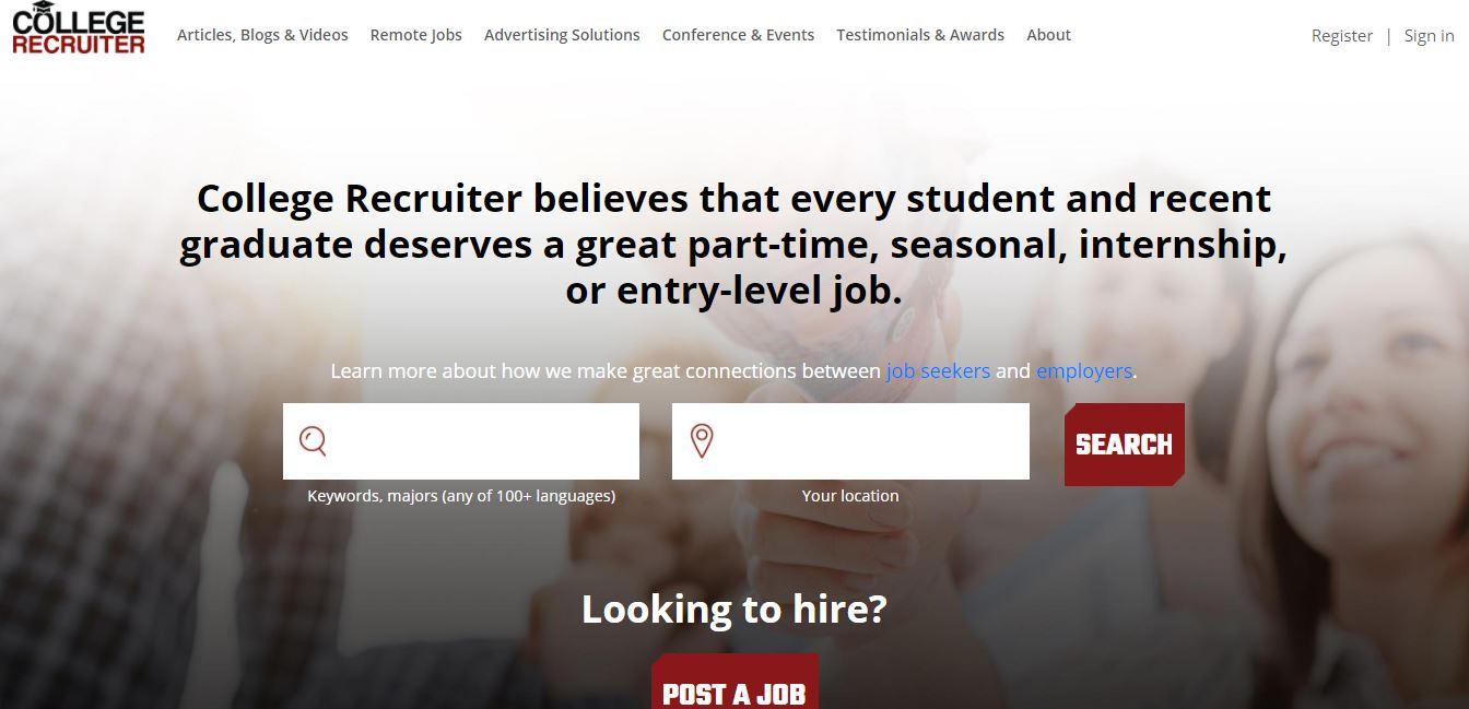 Homepage del sito web College Recruiter