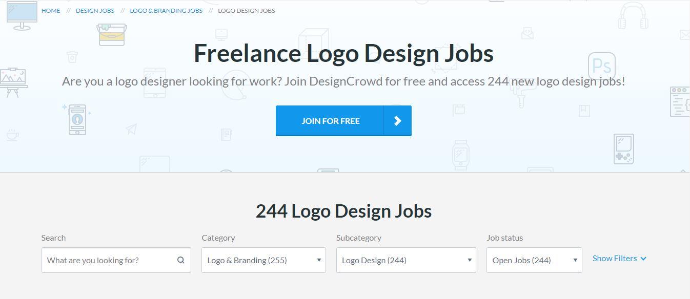 Homepage del sito web DesignCrowd