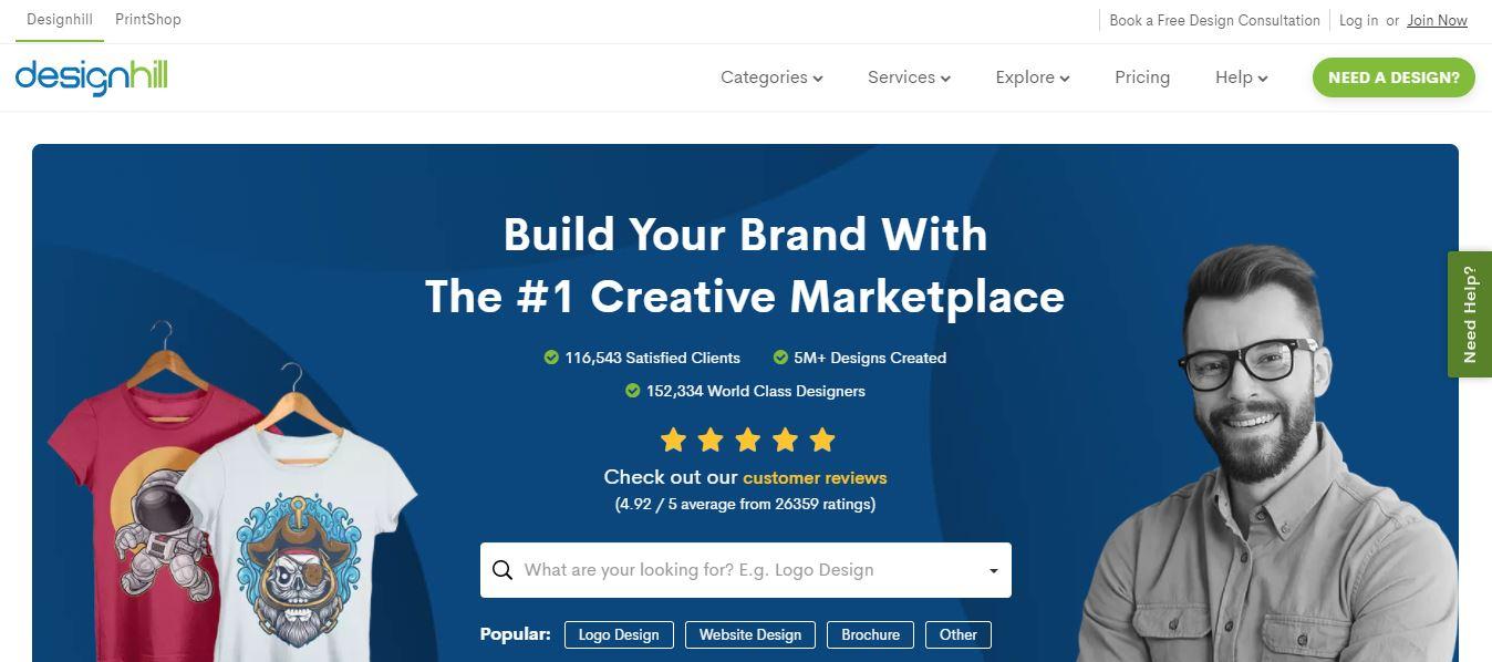 Homepage del sito web Designhill