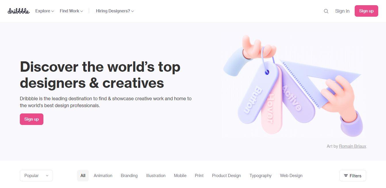 Homepage del sito web Dribble