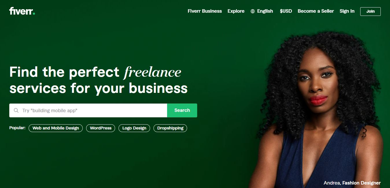 Homepage del sito web Fiverr