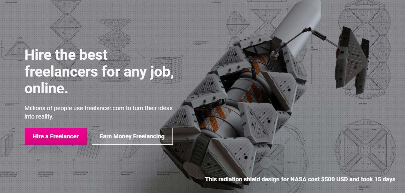 Homepage del sito web Freelancer.com