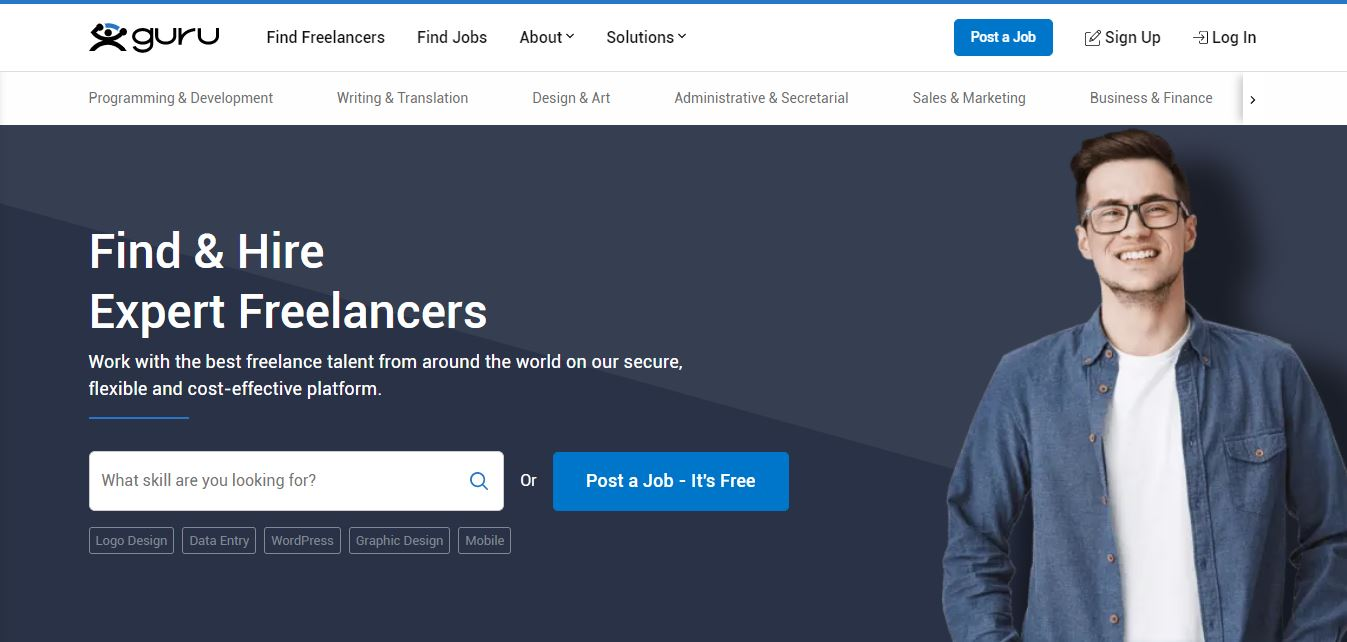 Homepage del sito web Guru