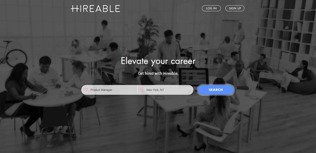 Homepage del sito web Hireable