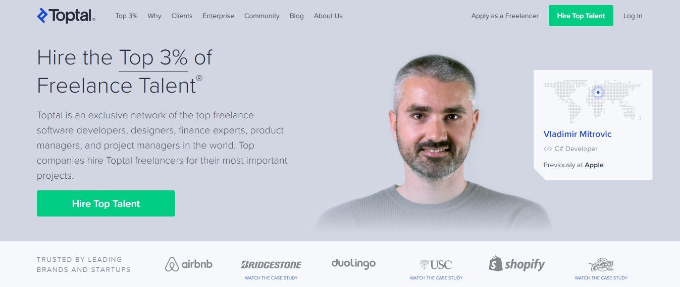 Homepage del sito web Toptal