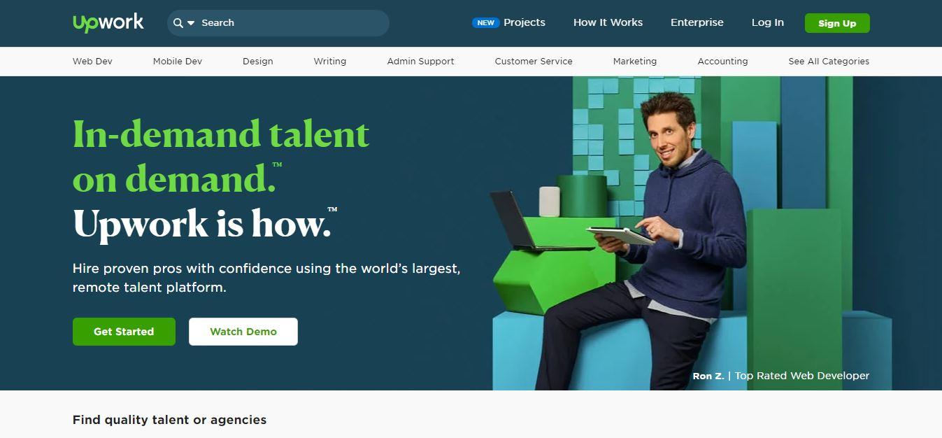 Homepage del sito web Upwork