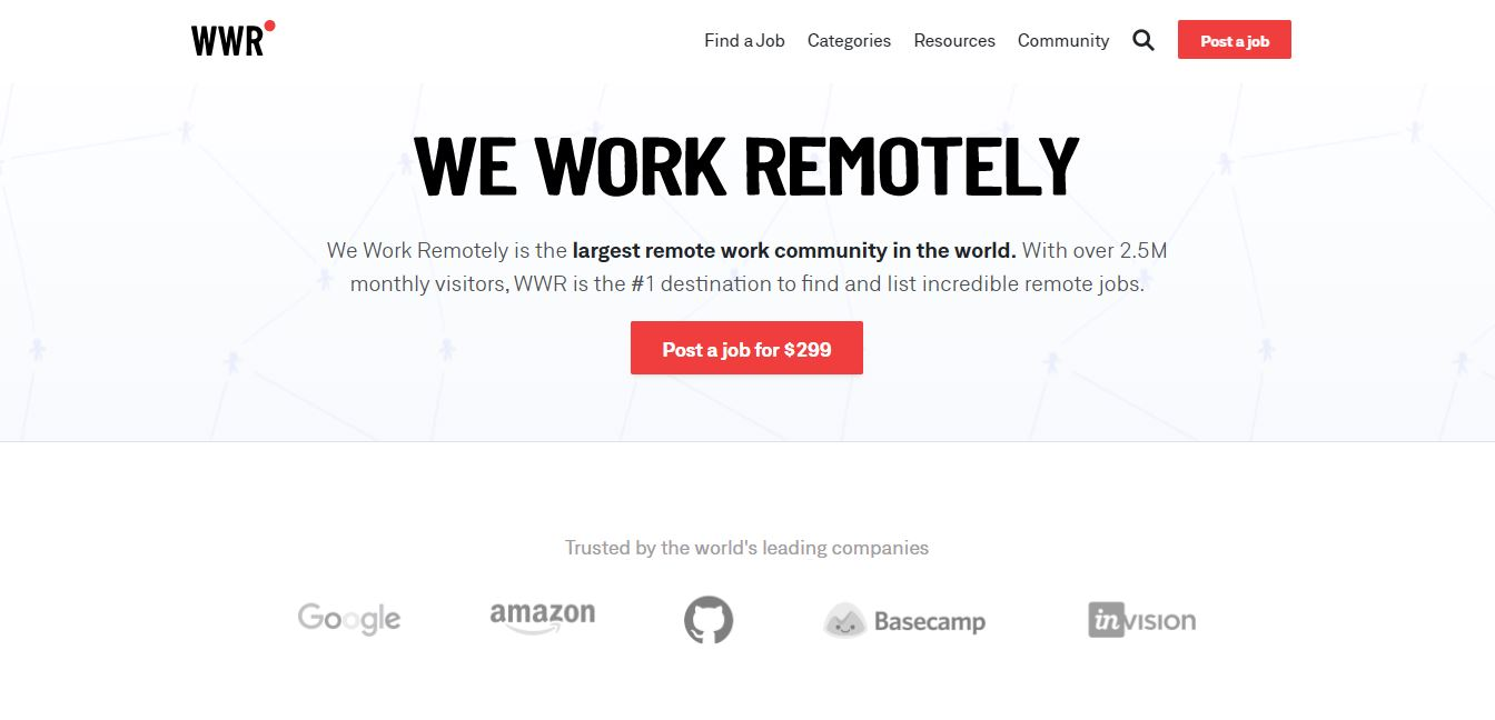 Homepage del sito web We Work Remotely