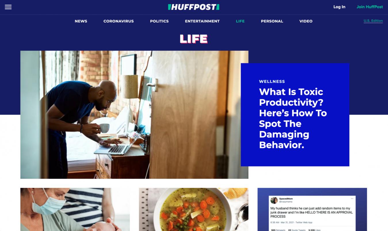 Huffington Post Life landing page