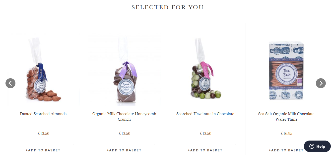Rococo Chocolates website featured products