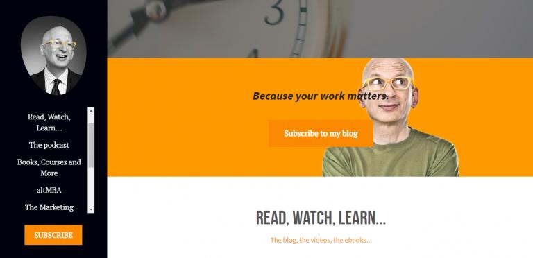 Exemplo de blog pessoal do Seth Godin