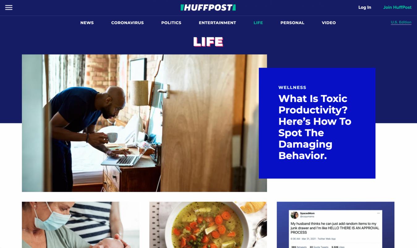 Landing page di Huffington Post Life