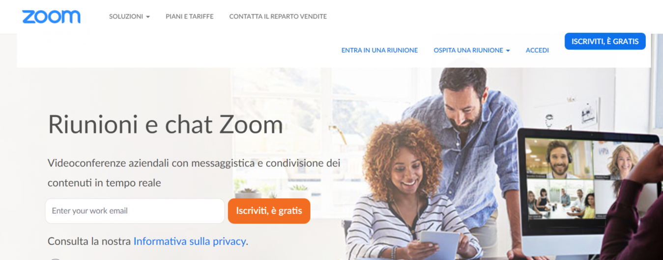 Landing page di Zoom