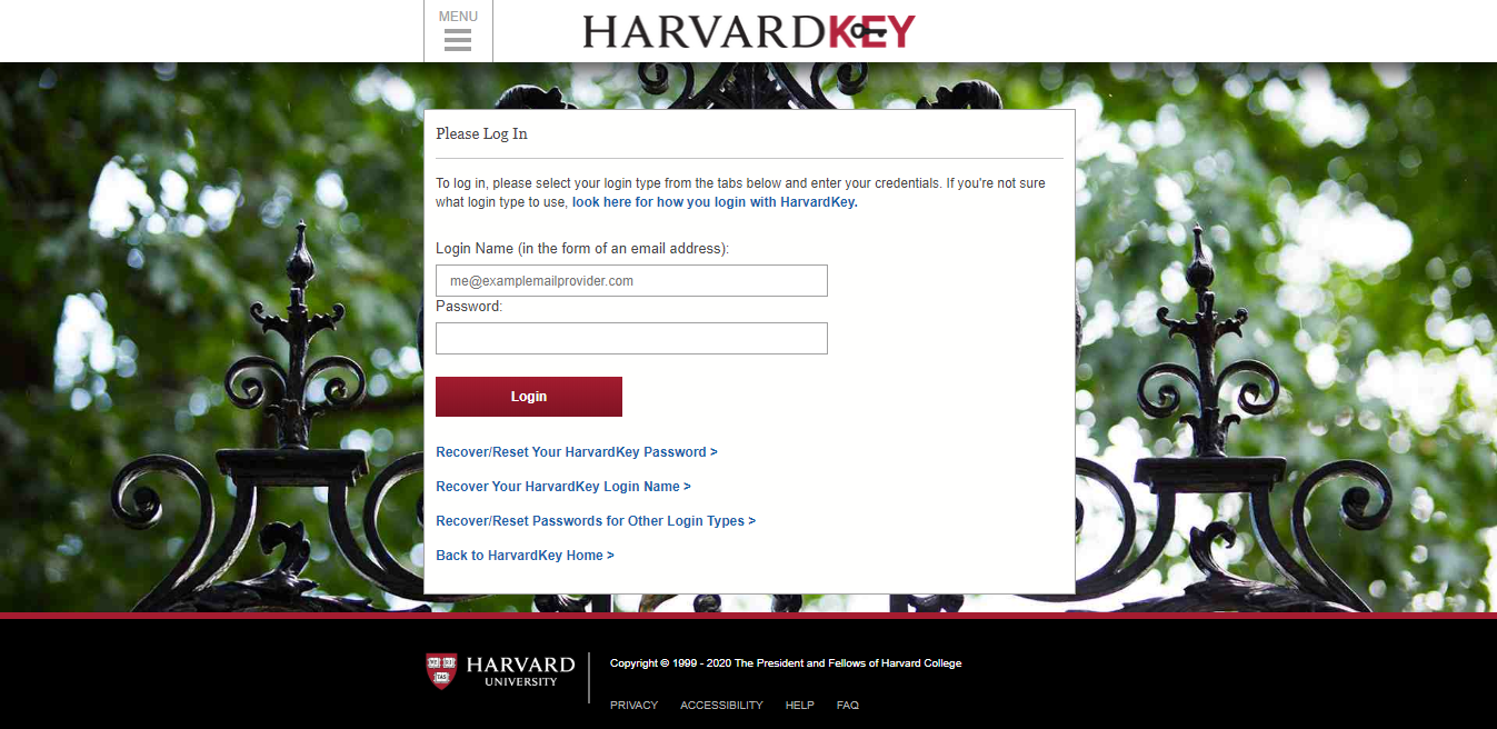 Halaman login Harvard Key