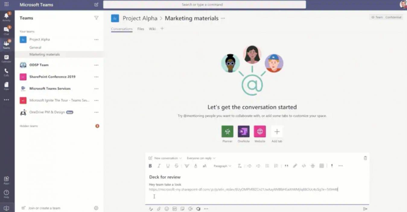 Modello Microsoft Teams