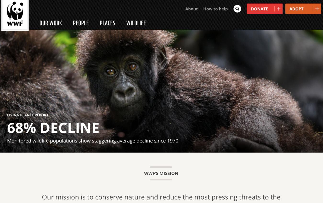 Voorbeeld van een non-profit website (WWF)