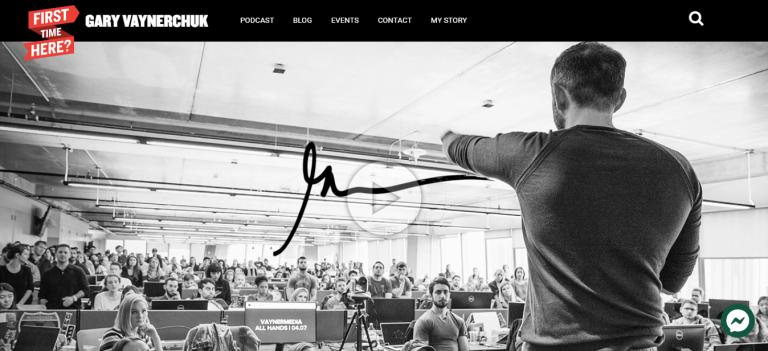 Exemplo de site de portfólio do Gary Vaynerchuk