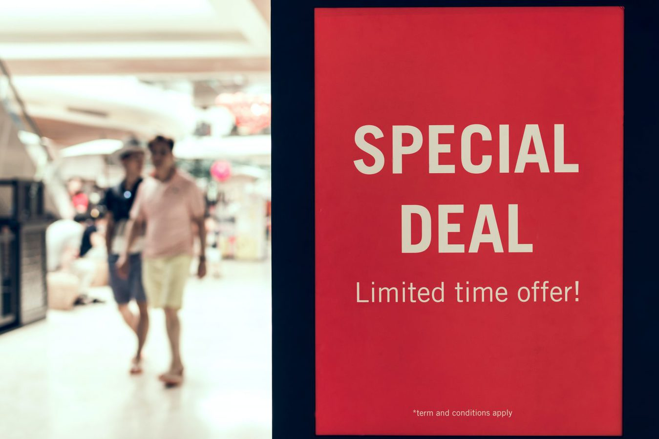 red poster that says 'special deal limited time offer!'