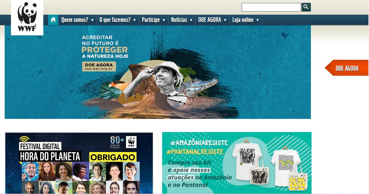 Exemplo de site para  organizações sem fins lucrativos: WWF Brasil