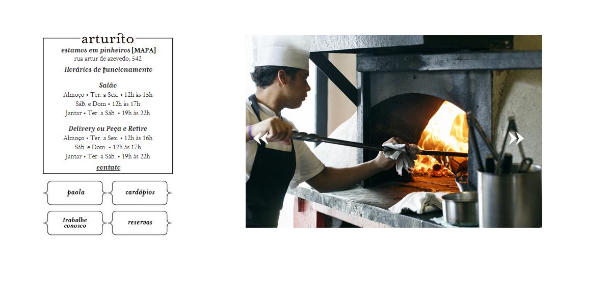 Exemplo de site-catálogo do restaurante Arturito