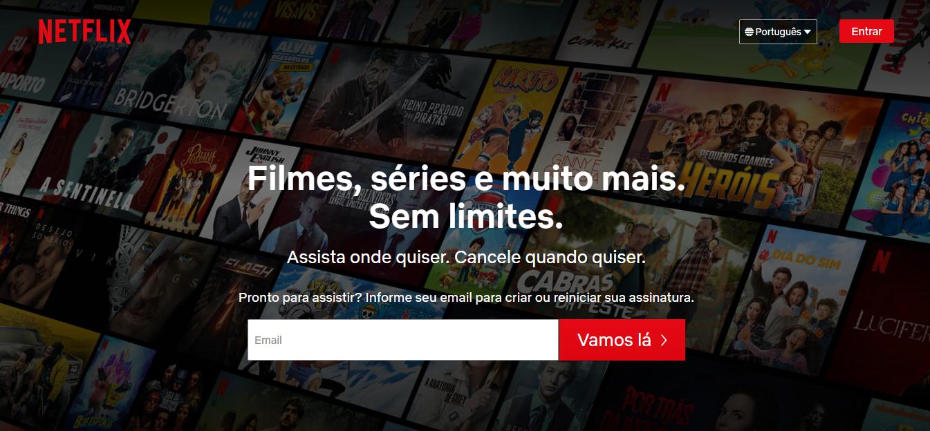 Exemplo de site de entrenerimento: Netflix
