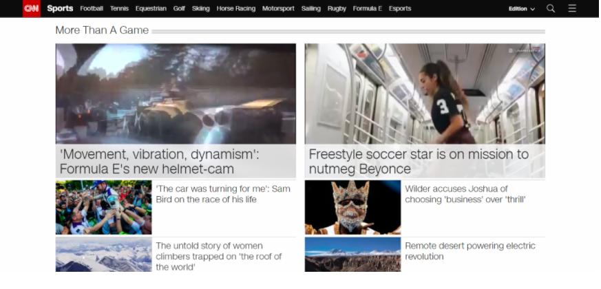 Sito di notizie che mostra un esempio della pagina sportiva della CNN
